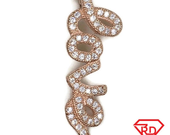Rose Gold on Silver Pendant Curly LOVE word with round white CZ