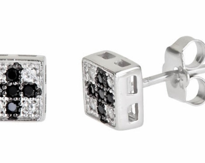 14k white gold layer on Square Cross style black CZ .925 Sterling Silver Stud Earrings