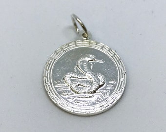 NEW .990 Sterling Silver Year of the Snake Lucky Pendant