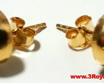 14k Yellow gold layer 925 Sterling Silver 10mm Half Round Flat Ball Stud Earring