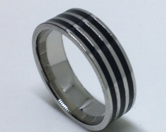 7 . 9 mm Brand New White Gold Plated with Zebra Pattern lines on Stainless Steel ring band