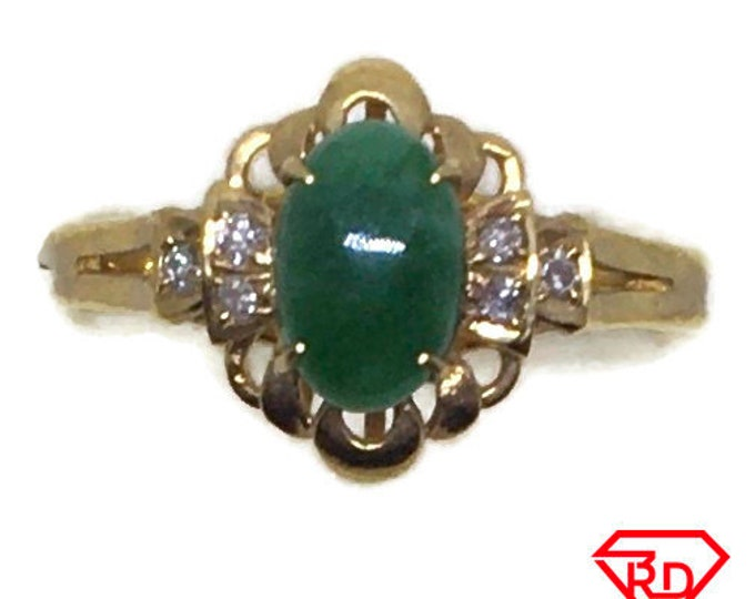 Handcraft 14k diamond and green fashion jade ring S6 . 25