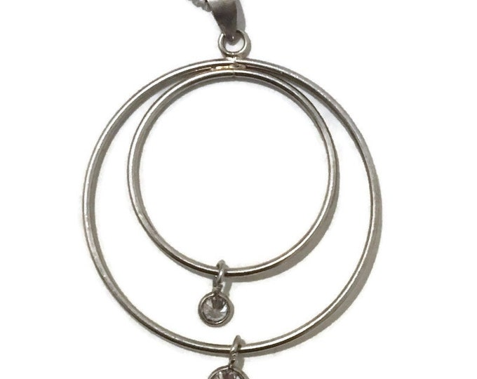 Brand New White Gold on 925 Sterling Silver Pendant double hoop and white round CZ with free chain ( 30 . 6 mm )