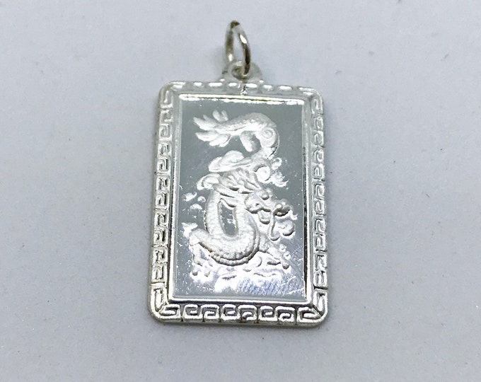 NEW .990 Sterling Silver Year of the Dragon Rectangular Lucky Pendant