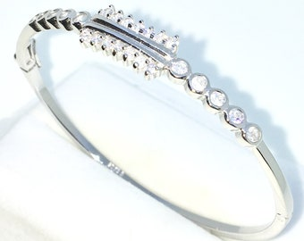 New White Gold Layered on 925 Solid Sterling Silver Oval Bangle Bracelets Bezel and prong set white round CZ and Box clasp