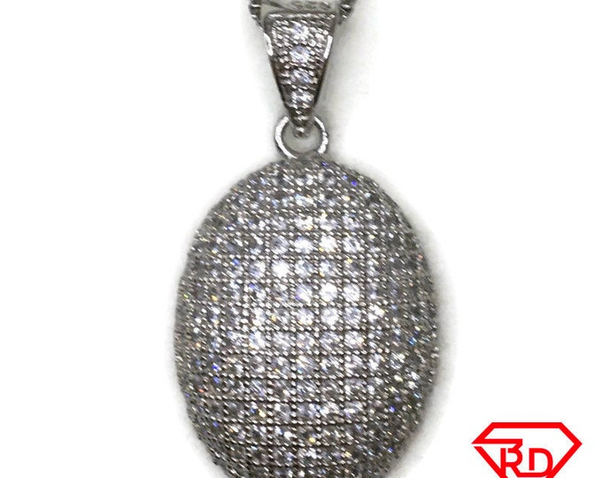 Cubic Zirconia Hollow oval charm pendant white gold on silver