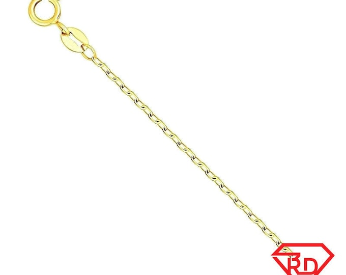 Precious Italian 14k yellow gold layered Sterling Silver Diamond Cut Cable Chain 0.8MM 18""