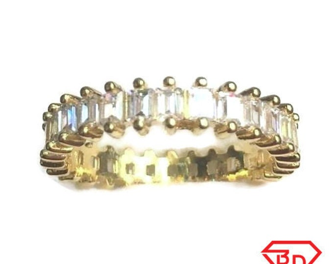 New 14k yellow gold layer on 925 sterling silver 1 ct cz  eternity ring size 6.5