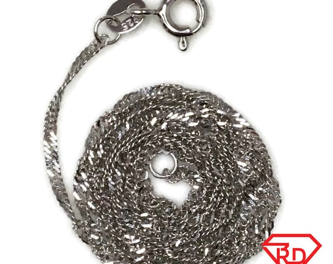 Brand New White Gold on 925 Sterling Silver Necklace 16 inch Singapore chain with Spring Ring Clasp ( 1 . 1 mm )