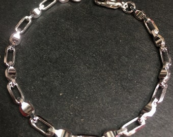 """4 . 5mm 8"""" - New  Solid 925 Sterling Silver Cable and Baht (Bullet) Bracelet"""