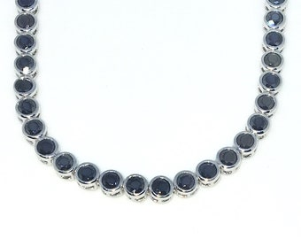 New White Gold Layered 925 Solid Sterling Silver 7 inch Bezel Large Round Black CZ Tennis Bracelet with Box Clasp