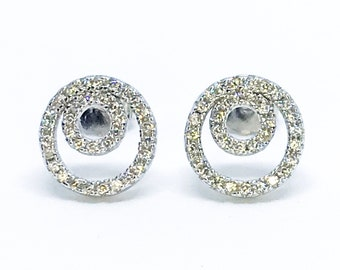 NEW 14K White Gold on Sterling Silver Double Circle Earrings