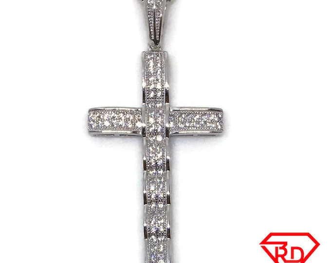 Cross with Curves and CZ pendant white Gold on silver