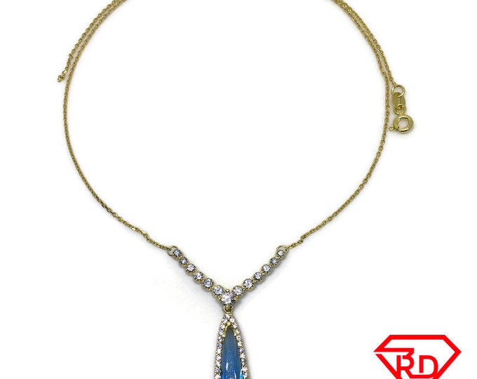 Blue Stone CZ Necklace 16 inch chain yellow gold on silver