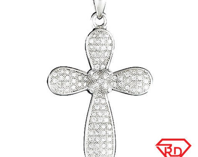 Rounded Edge Cross .925 Streling Silver Micro Pave CZ Pendant