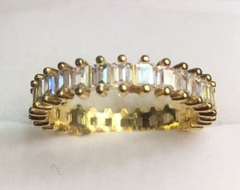 New 14k yellow gold layer on sterling silver 1 ct cz  eternity ring size7