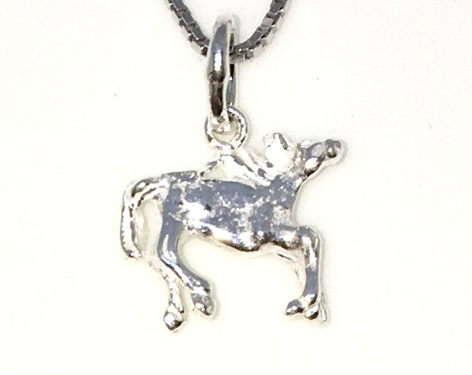 Brand New 925 Solid Sterling Silver Tiny Pendant with Horse Zodiac and Free chain