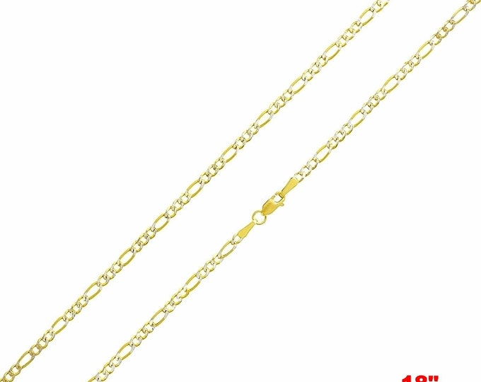 "Italian diamond cut 14k white & yellow gold layered over 925 silver Figaro Chain- 3mm-18"""