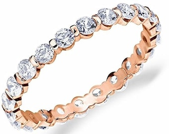 14k r gold layer on silver wedding 0.75ct cz stackable eternity ring band size 8