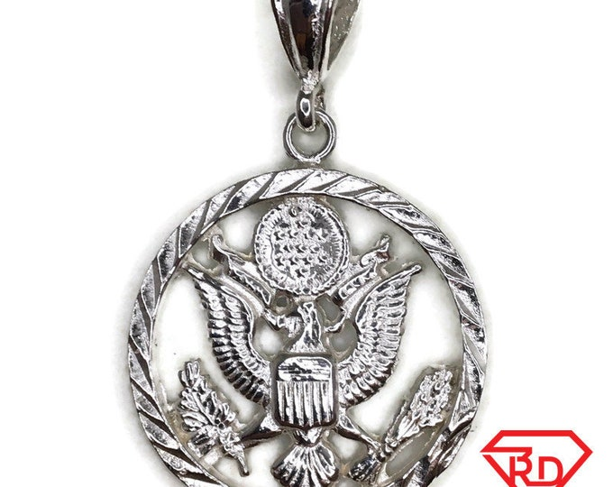 USA eagle logo charm pendant white gold on silver