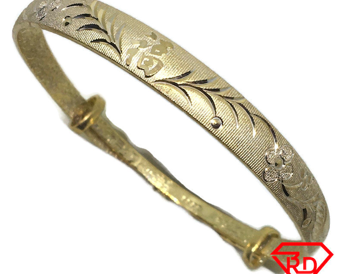 Diamond cut Flower slip in Bangle 999 Yellow Gold Layer