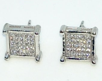 14k White Gold Layered Square shaped CZ with point corners on 925 Solid Sterling Silver Stud Earrings ( 9 . 3 mm )