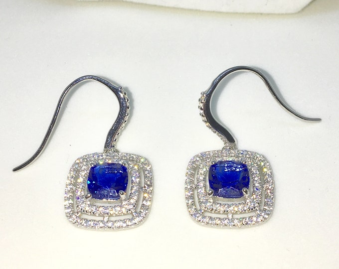 New White Gold on 925 Solid Sterling Silver Square with Large blue Square and round white CZ Dangle drop hook Earrings ( 15 . 1 mm )