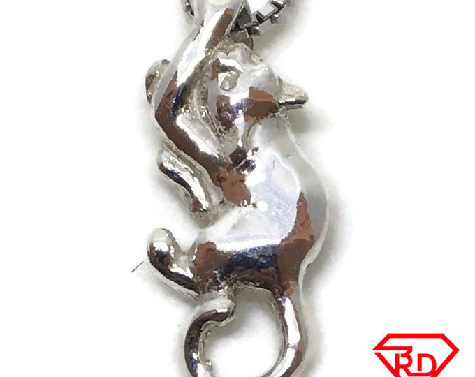 Crawling Cat tiny charm pendant 925 Solid Silver