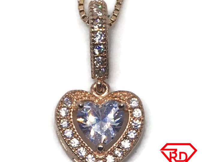 Heart CZ tiny pendant Rose gold on Silver