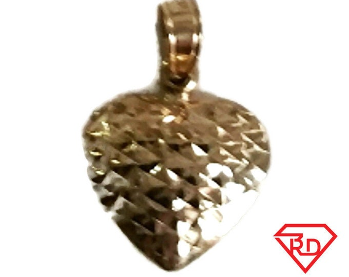14k gold Layer on Sterling Silver Reversible Diamond cut & Polish Heart Pendant Charm