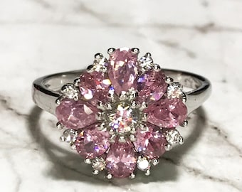 NEW 14K White Gold Layered on Sterling Silver Big Beautiful Flower with Pink Stones Ring