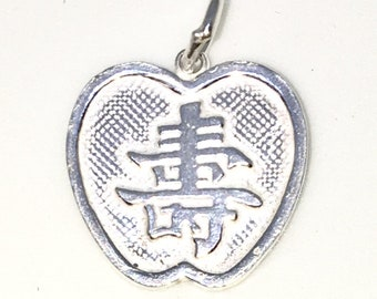 Brand New 925 Solid Sterling Silver Medium Pendant with Apple Shape and fortune and longevity Chinese Letter