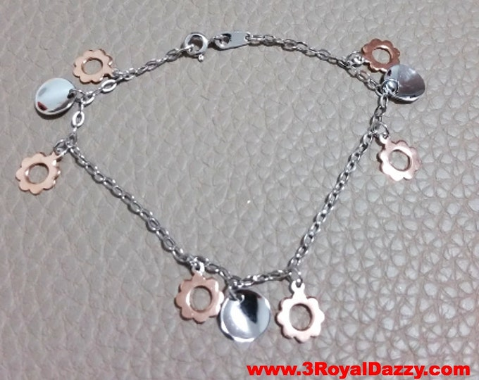 14k White and Rose Gold Layer on 925 Sterling Silver Dangling Flower Charms Bracelet