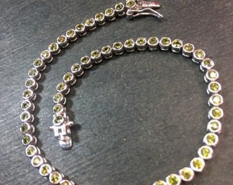 14k gold layer on sterling silver 2ct green cz tennis link chain bracelet 3.1mm