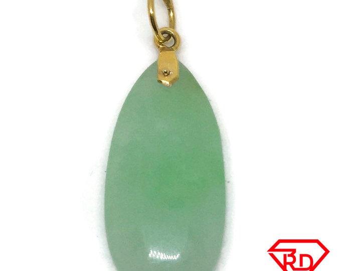 Teardrop Green Jade charm pendant 14k Solid Yellow gold