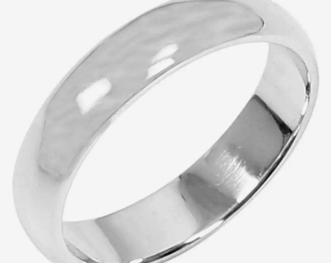 5 . 6mm Size 16 . 5- Handmade solid 990 Silver high polished glossy plain wedding Ring Band