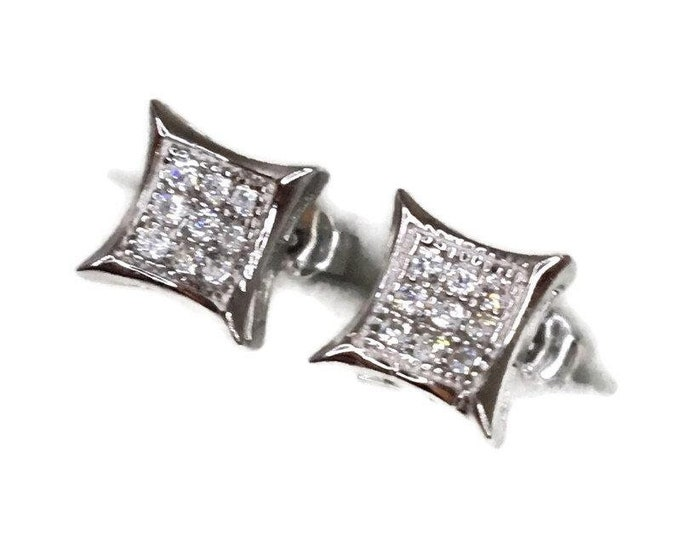 New white gold on 925 silver studs earrings small pointy square