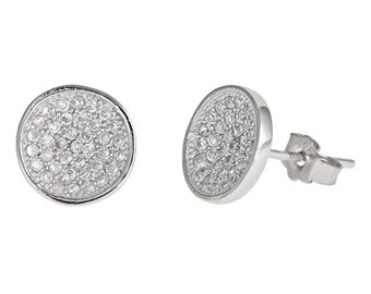 Cool Round Style Micro Pave CZ .925 Sterling Silver Stud Earrings Unisex