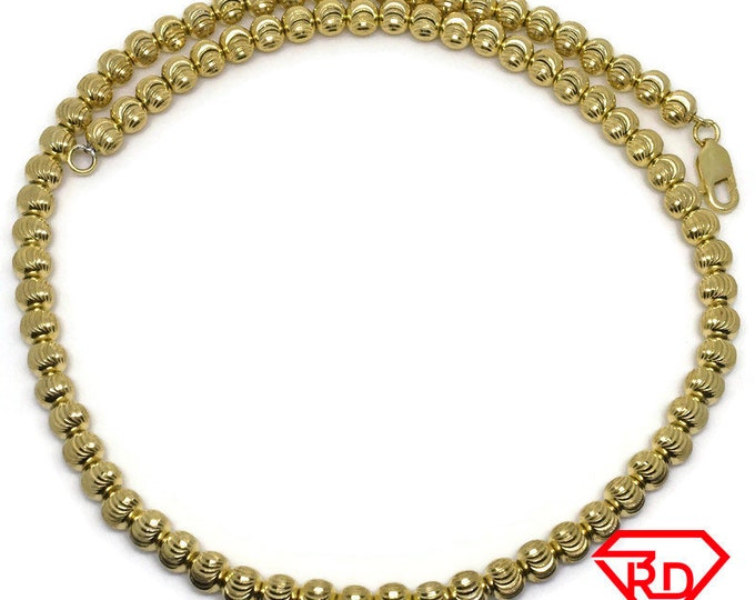 Moon cut beads choker chain 16 inch yellow gold on silver