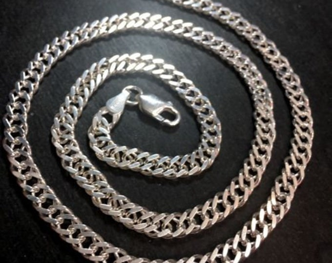 New anti-tarnish solid 925 silver italian double curbs chain necklace 5.5mm-20""