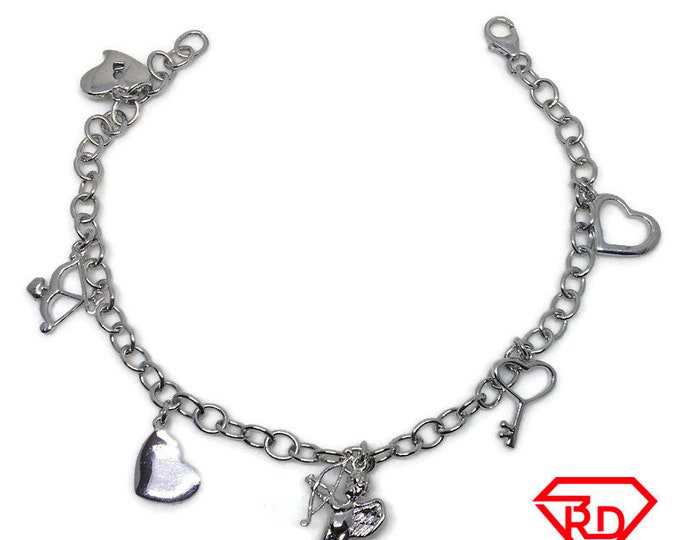 Hearts and Love charm Bracelet 14k White Gold Plated