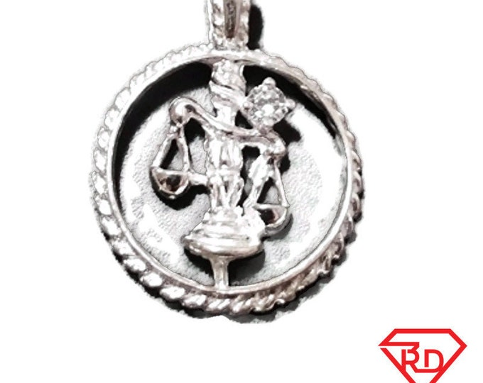 Astrology Zodiac Libra Horoscope Birthday Anti Tarnish .925 Sterling Silver Pendant