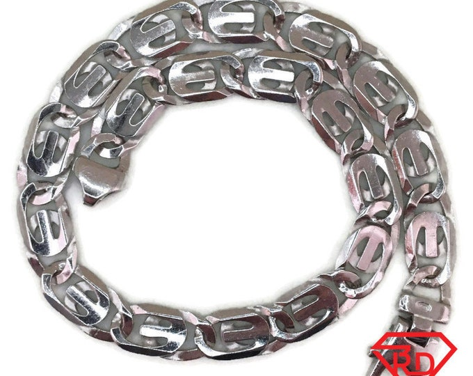 White gold layer on silver Bracelet artistic chain 9 inch
