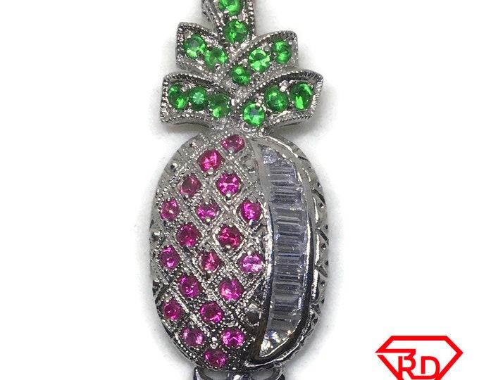 Pineapple Multi CZ white gold on silver pendant