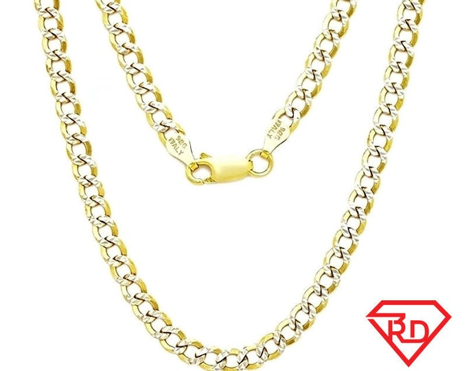 "Italian diamond cut 14k white & yellow gold layered over 925 silver- 2.7mm Curb Chain 22"""
