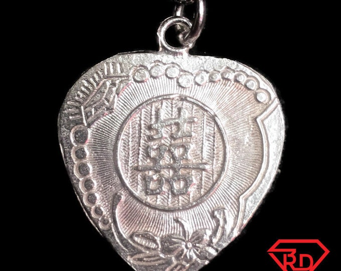 "New 925 Silver Chinese Character Writing ""Double Happiness""  &  Love Doves Heart Charm Pendant Reversible Design"