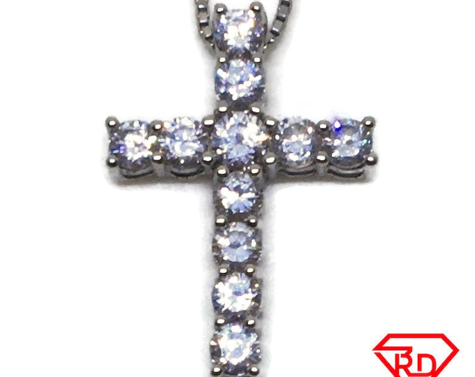 Small simple Cross with white CZ pendant 14k white gold Layer