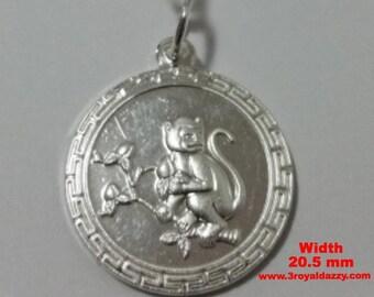 Chinese zodiac horoscope 999 fine silver round year of monkey pendant charm