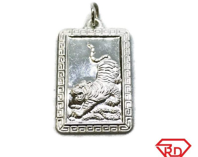 NEW .990 Sterling Silver Year of the Tiger Rectangular Lucky Pendant