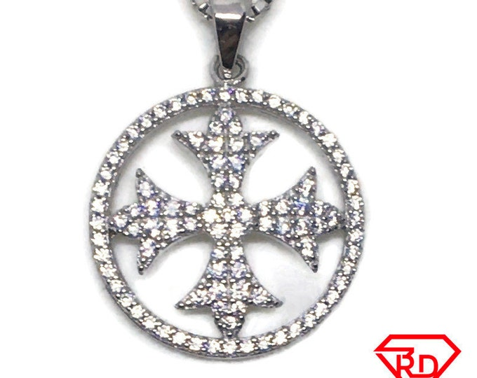 Cross in circle CZ charm pendant White gold on Silver